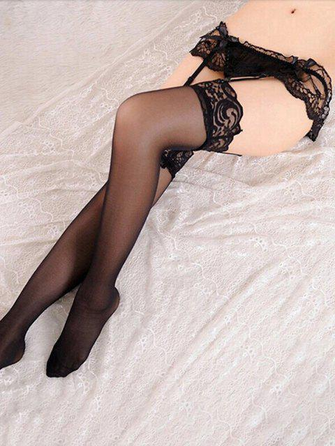 unique Lace Bowknot Sexy Garter Suspenders Stockings - BLACK  Mobile