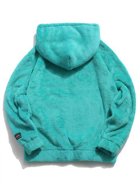 online Solid Pouch Pocket Fluffy Hoodie - BLUE HOSTA 2XL Mobile