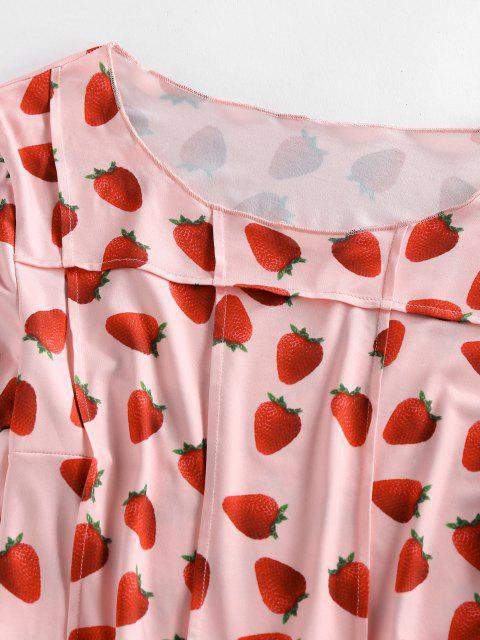 outfits ZAFUL Long Sleeve 3D Strawberry Print Pintuck Tee - LIGHT PINK L Mobile