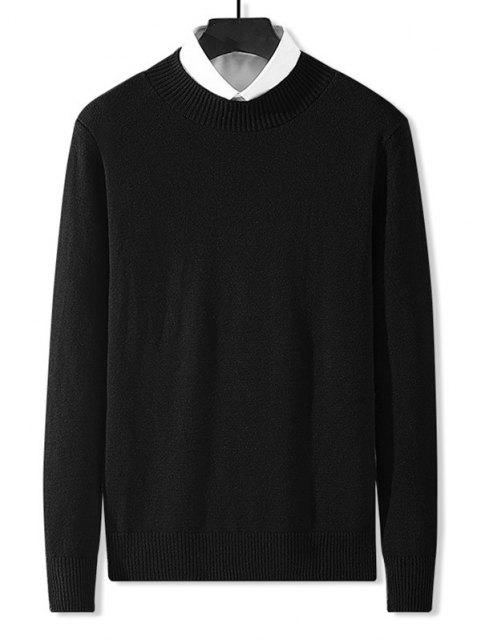 buy Mock Neck Solid Knit Sweater - BLACK XS Mobile