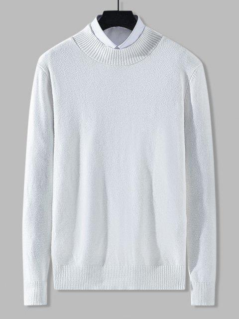 chic Mock Neck Solid Knit Sweater - WHITE S Mobile