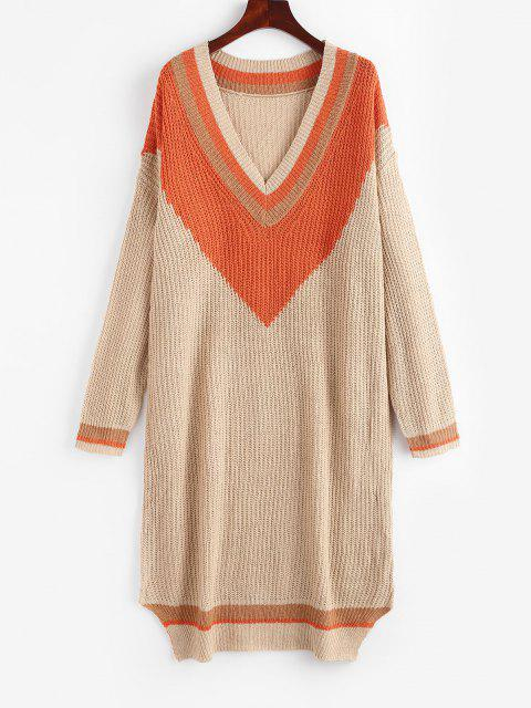 affordable Colorblock Cricket Sweater Dress - LIGHT COFFEE L Mobile