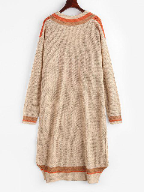 online Colorblock Cricket Sweater Dress - LIGHT COFFEE XL Mobile