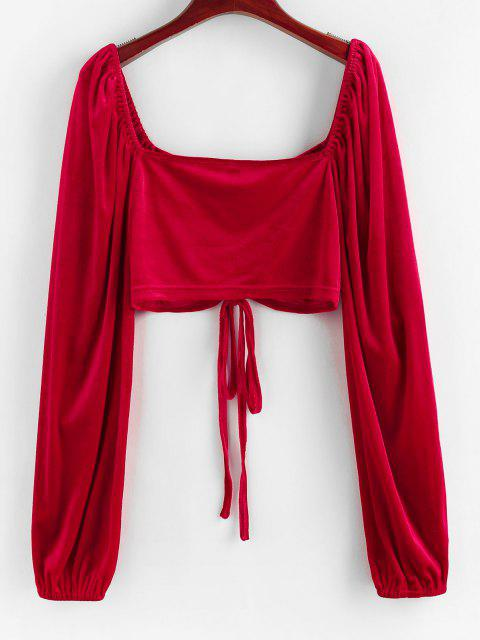 trendy ZAFUL Cinched Velvet Raglan Sleeve Cropped Blouse - RED S Mobile