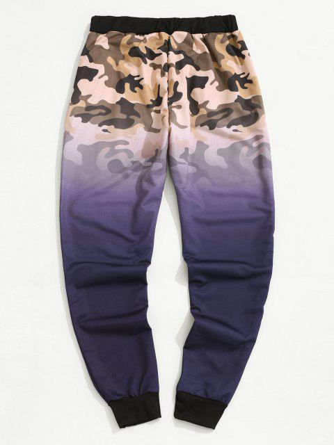 latest Camouflage Ombre Print Beam Feet Pants - PURPLE M Mobile