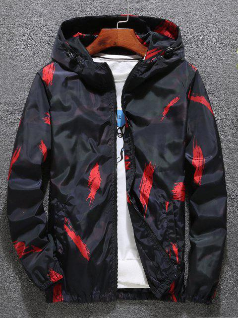shop Hooded Paint Line Print Zip Up Jacket - RED M Mobile