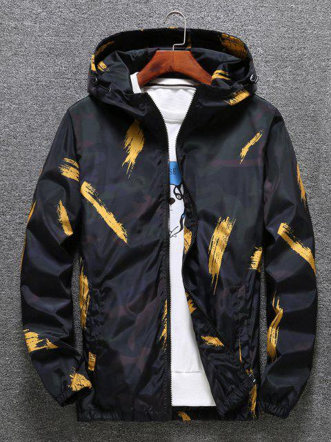 fashion Hooded Paint Line Print Zip Up Jacket - YELLOW XS Mobile