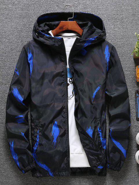 womens Hooded Paint Line Print Zip Up Jacket - BLUE M Mobile