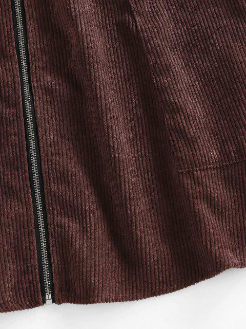womens ZAFUL Corduroy Zip Fly Mini Skirt - DEEP COFFEE L Mobile
