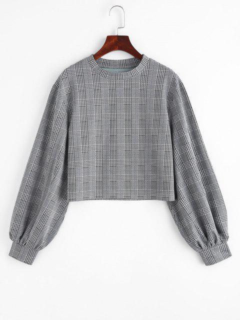 buy Lantern Sleeve Plaid Houndstooth Sweatshirt - BLACK M Mobile