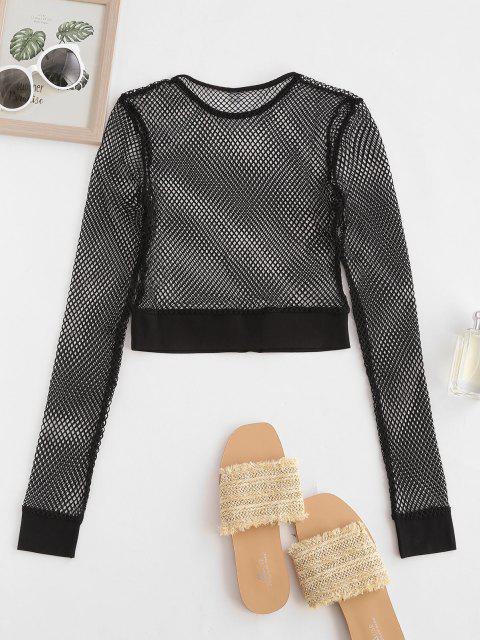 new Solid Fishnet Cropped Top - BLACK S Mobile
