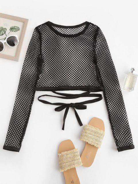 shop Tie-around Criss Cross Fishnet Crop Top - BLACK M Mobile