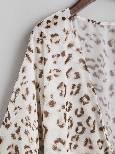 Kimono de Plage en Mousseline Surdimensionné MotifdeLéopard - Blanc M Mobile