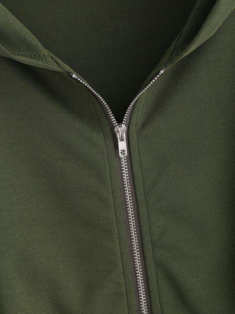 Abrigo Capucha Hombro Caído y Cinto - Verde Oscuro L Mobile