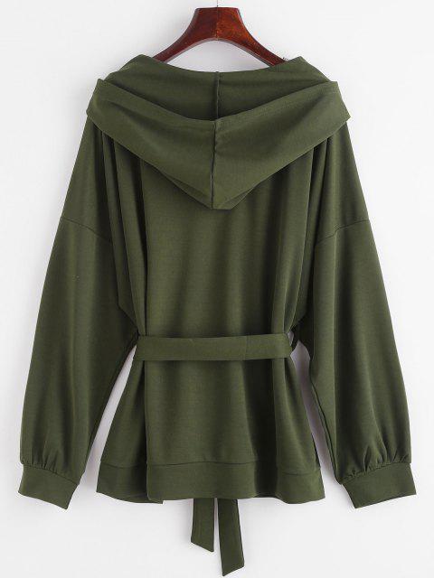 Hooded Drop Shoulder Belted Coat - ديب غرين L Mobile