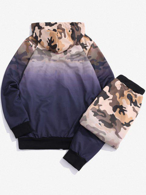 hot Camouflage Ombre Print Two Piece Set - PURPLE S Mobile