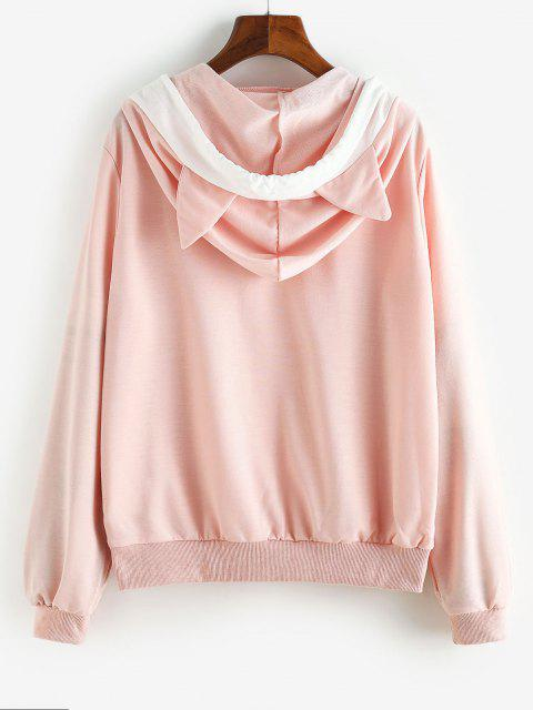 chic Colorblock Front Pocket Drawstring Cat Hoodie - LIGHT PINK S Mobile