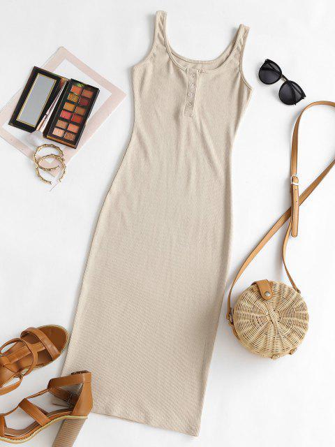 fashion Rib Knit Bodycon Henley Tank Dress - LIGHT COFFEE M Mobile