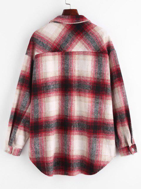 ZAFUL Plaid Flap Pocket Curved Hem Shirt Jacket - أحمر M Mobile