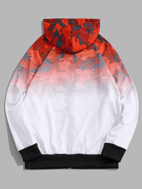 Veste à Capuche Camouflage Ombrée Imprimé - Rouge XS Mobile
