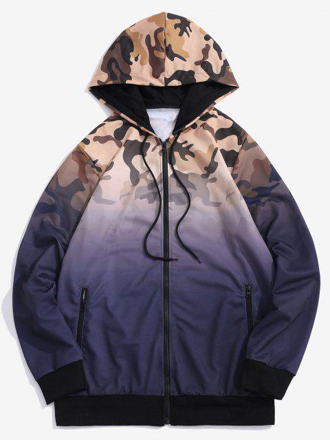 Ombre Camouflage Print Hooded Jacket - أرجواني M Mobile
