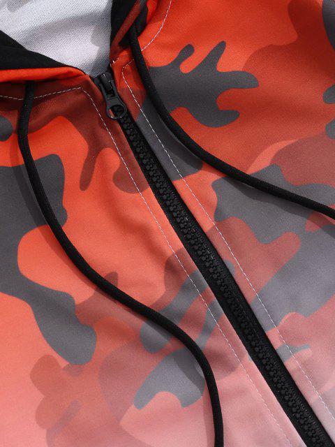 Veste à Capuche Camouflage Ombrée Imprimé - Rouge L Mobile