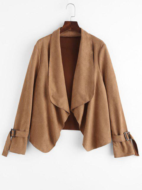 Faux Suede Open Front Buckle Cuff Coat - قهوة XL Mobile