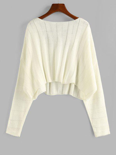 affordable ZAFUL Plunging Drop Shoulder Oversized Crop Sweater - LIGHT YELLOW S Mobile