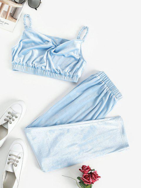 fashion ZAFUL Braided Straps Velvet Cropped Two Piece Set - LIGHT BLUE S Mobile