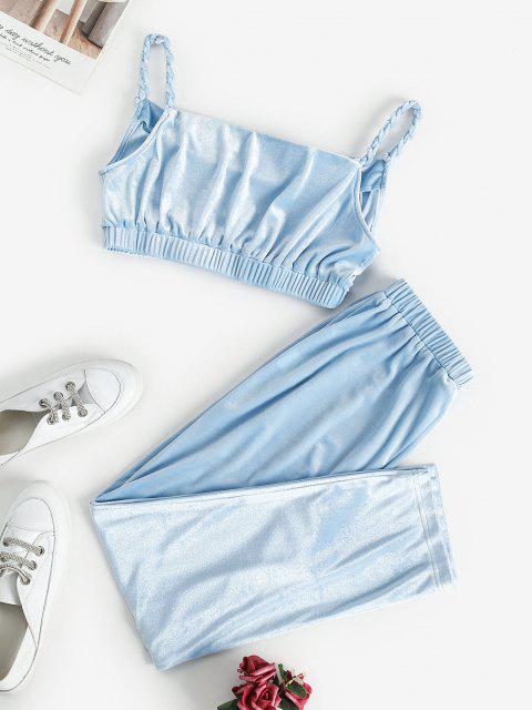 trendy ZAFUL Braided Straps Velvet Cropped Two Piece Set - LIGHT BLUE M Mobile