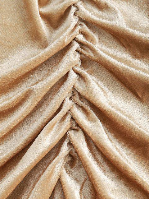 lady Gathered Velvet Long Sleeve Surplice Dress - LIGHT COFFEE M Mobile
