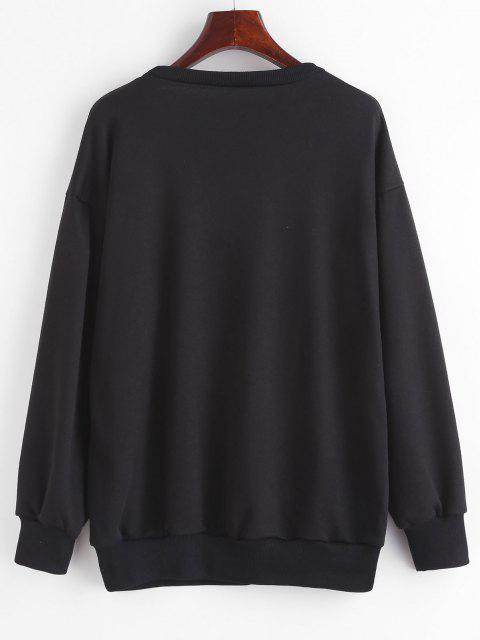 Drop Shoulder M Embroidered Pullover Sweatshirt - أسود S Mobile