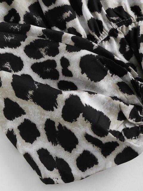 ladies Leopard Oversized Dolman Sleeve Peplum Blouse - COFFEE L Mobile