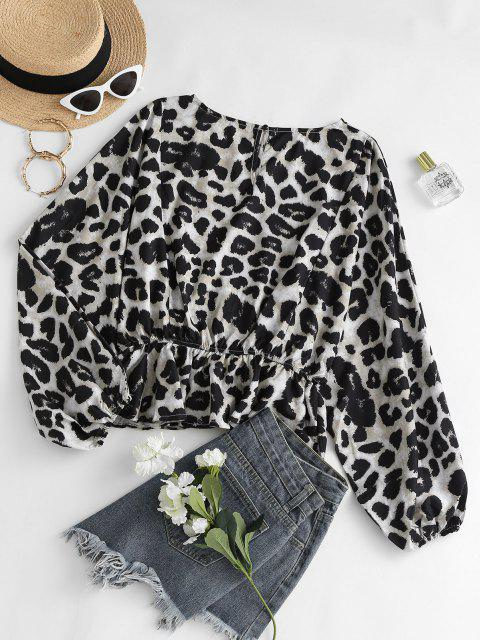 online Leopard Oversized Dolman Sleeve Peplum Blouse - COFFEE S Mobile