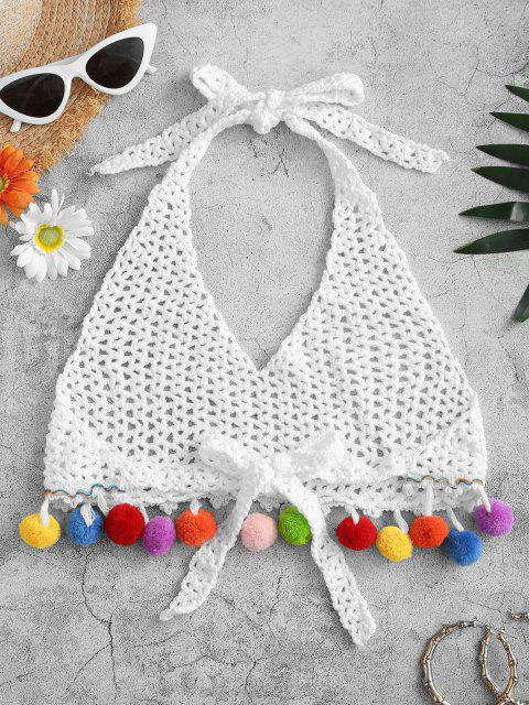 outfits Halter Openwork Crochet Pompom Crop Beach Top - WHITE ONE SIZE Mobile