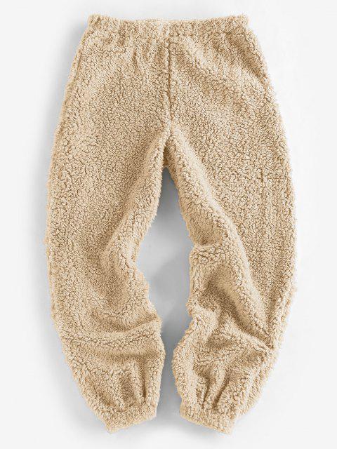 shops ZAFUL Faux Fur Elastic Cuffs Pull-on Pants - LIGHT KHAKI L Mobile