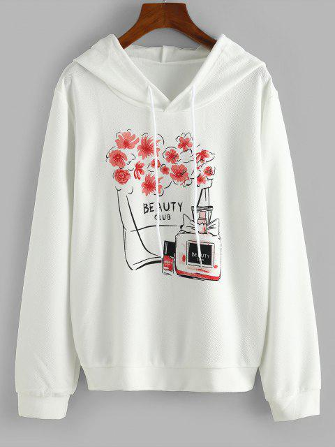 Drawstring Floral Beauty Club Hoodie - أبيض L Mobile