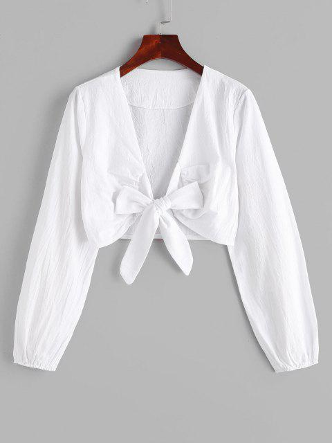hot Solid Tie Front Cropped Top - WHITE L Mobile