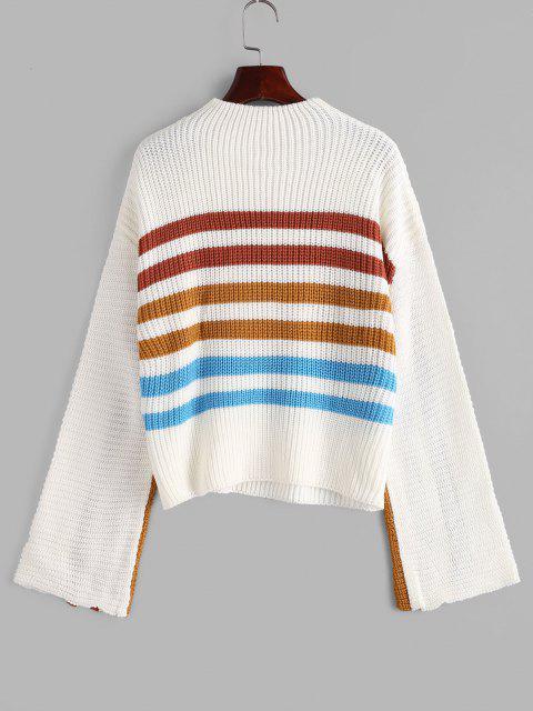 Camisola Listrado com Decote Mock - Branco L Mobile