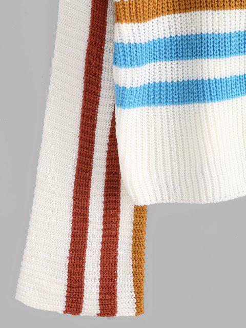 hot Mock Neck Striped Sweater - WHITE L Mobile