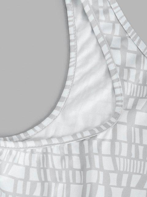 women's Net Printed One Shoulder Tie Side Two Piece Set - PLATINUM S Mobile