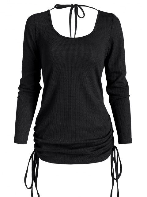 new Cinched Side Tie Open Back Tunic Top - BLACK M Mobile