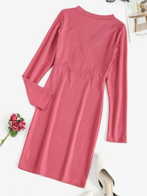 affordable Long Sleeve Ribbed Surplice Mini Dress - ROSE RED XL Mobile