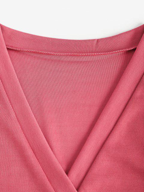 Mini Robe Superposée Côtelée à Manches Longues - Rouge Rose S Mobile
