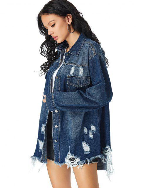 fashion Distressed Pocket Drop Shoulder Long Denim Coat - BLUE S Mobile