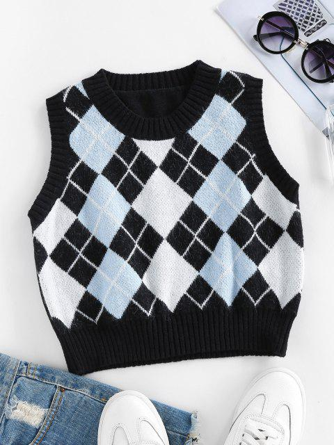 ZAFUL Argyle Rib Trim Crop Sweater Vest - أسود L Mobile