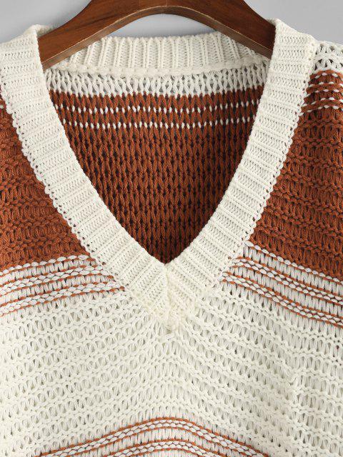 ZAFUL Farbblock V Ausschnitt Hängender Schulter Übergröße Pullover - Kaffee M Mobile