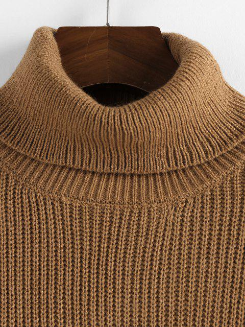 buy ZAFUL Turtleneck Scalloped Hem Crop Sweater - COFFEE L Mobile
