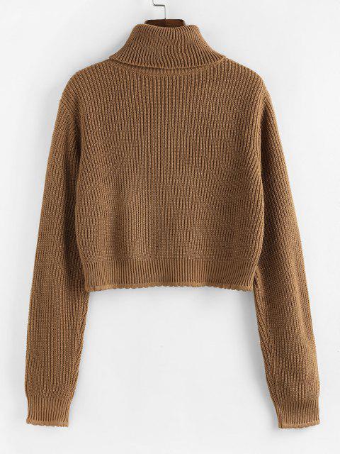 unique ZAFUL Turtleneck Scalloped Hem Crop Sweater - COFFEE S Mobile