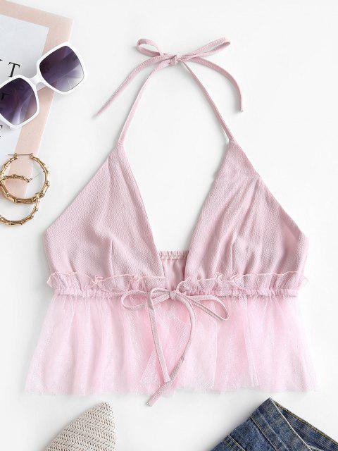 new Tulle Panel Tie Front Halter Top - PIG PINK M Mobile